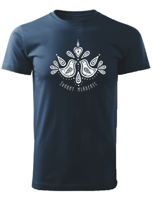 Tričko švárny mládenec folk Unisex Námornícke modré