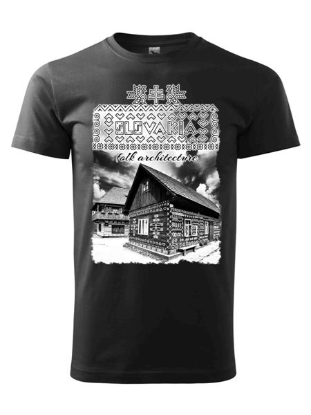 Tričko Čičmany - chalúpka Unisex Čierne