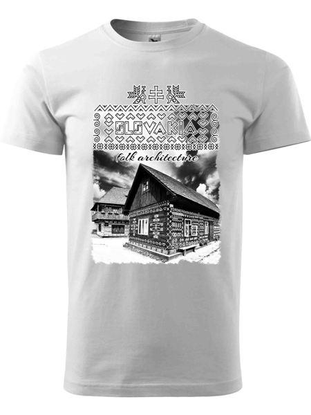 Tričko Čičmany - chalúpky Unisex Biele