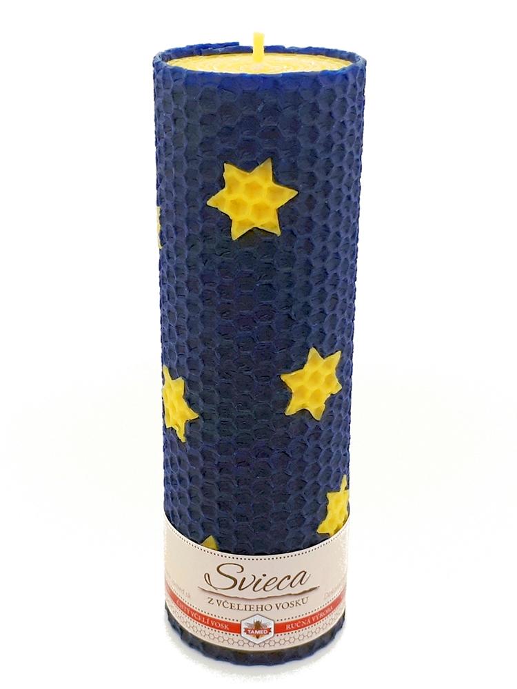 Sviečka včelí vosk modrá hviezdy110mm/50mm