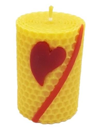 Sviečka včelí vosk žltá srdce+pásik 70mm/50mm