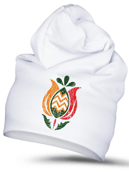 Folklórna čiapka tulipán 1 retro Biela