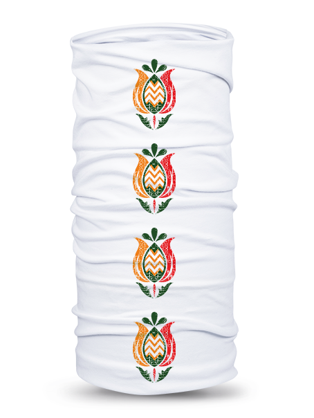 Folklórna multifunkčná šatka tulipán 1 retro Biela