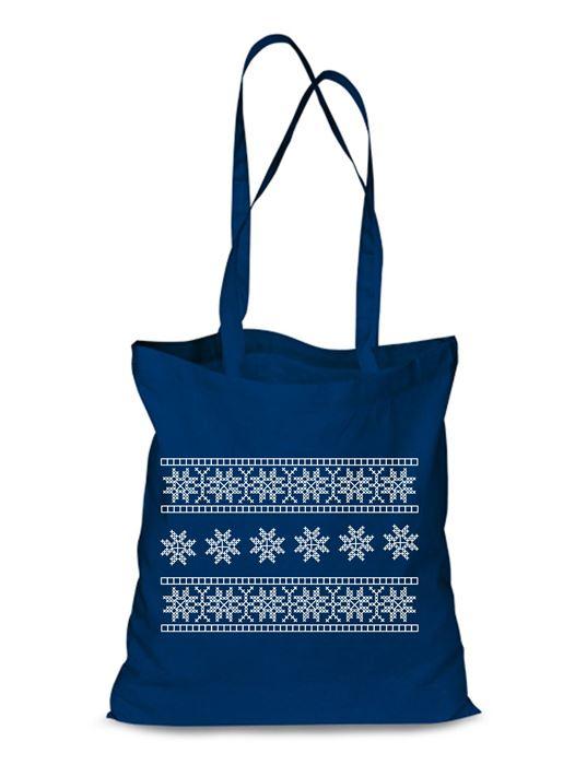 Plátená EKOlogická taška výšivka 06 - dlhá rúčka Modrá