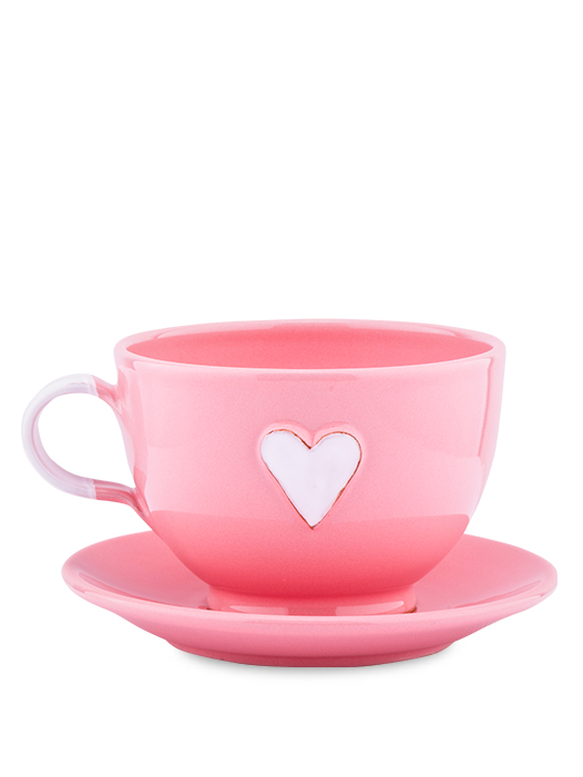 Šálka s tanierikom ružová srdce biele