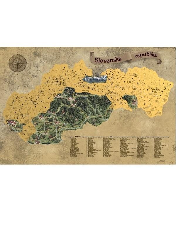 Stieracia mapa Slovensko - zlatá