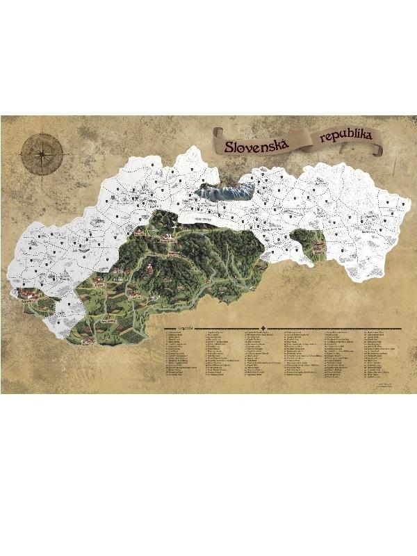 Stieracia mapa Slovensko - strieborná