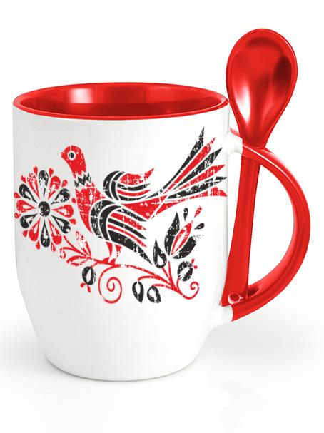 Ľudový pohár bažant retro Červený