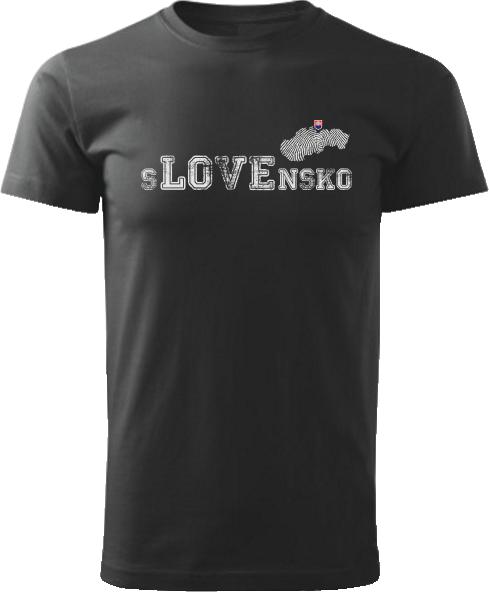 Tričko love Slovensko Unisex Čierne