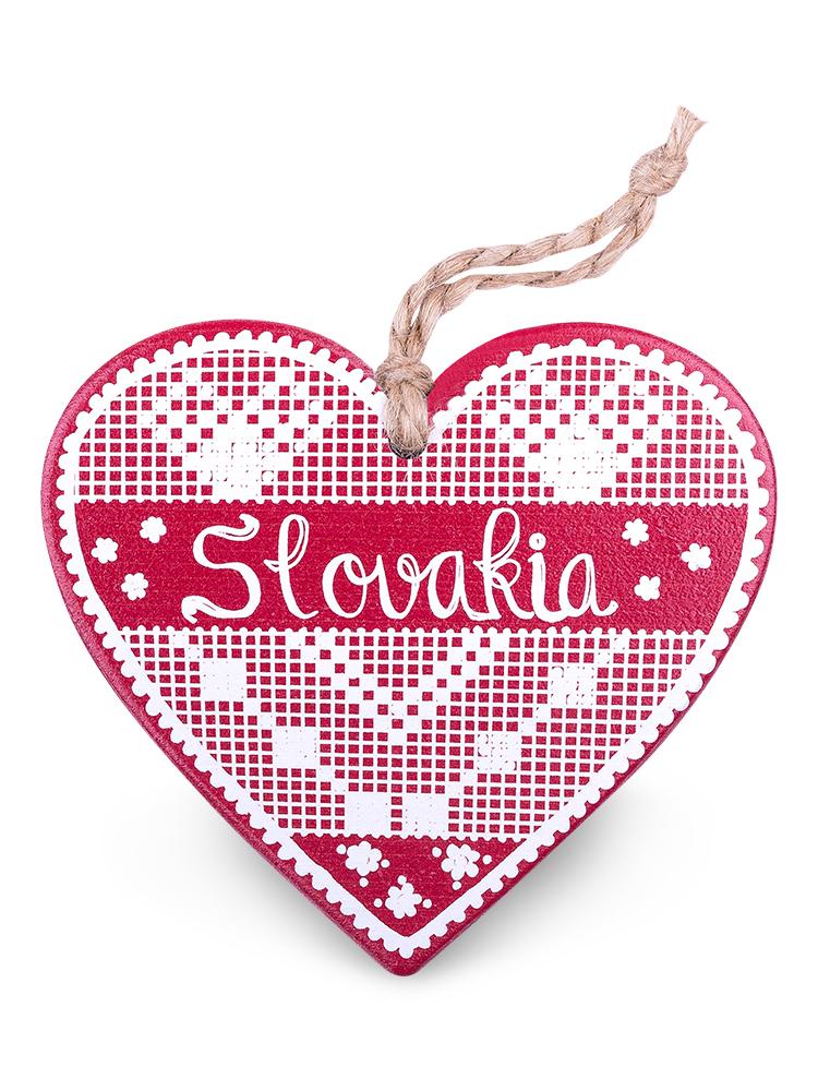 Drevené srdce Slovakia výšivka - bordové