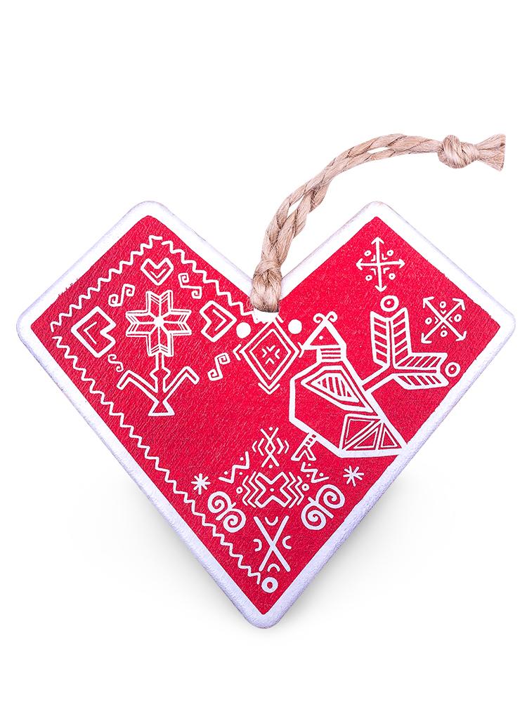 Drevené čičmanské srdce - červeno biele