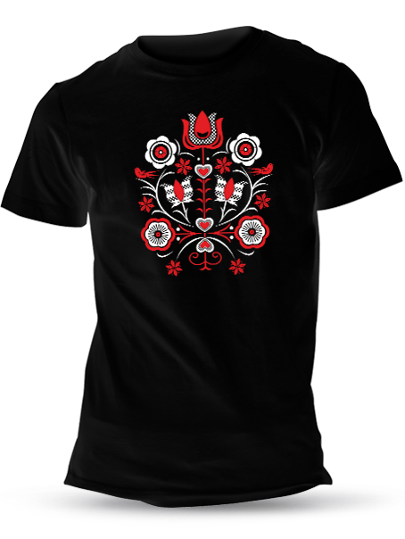 Tričko kytica Unisex Čierne