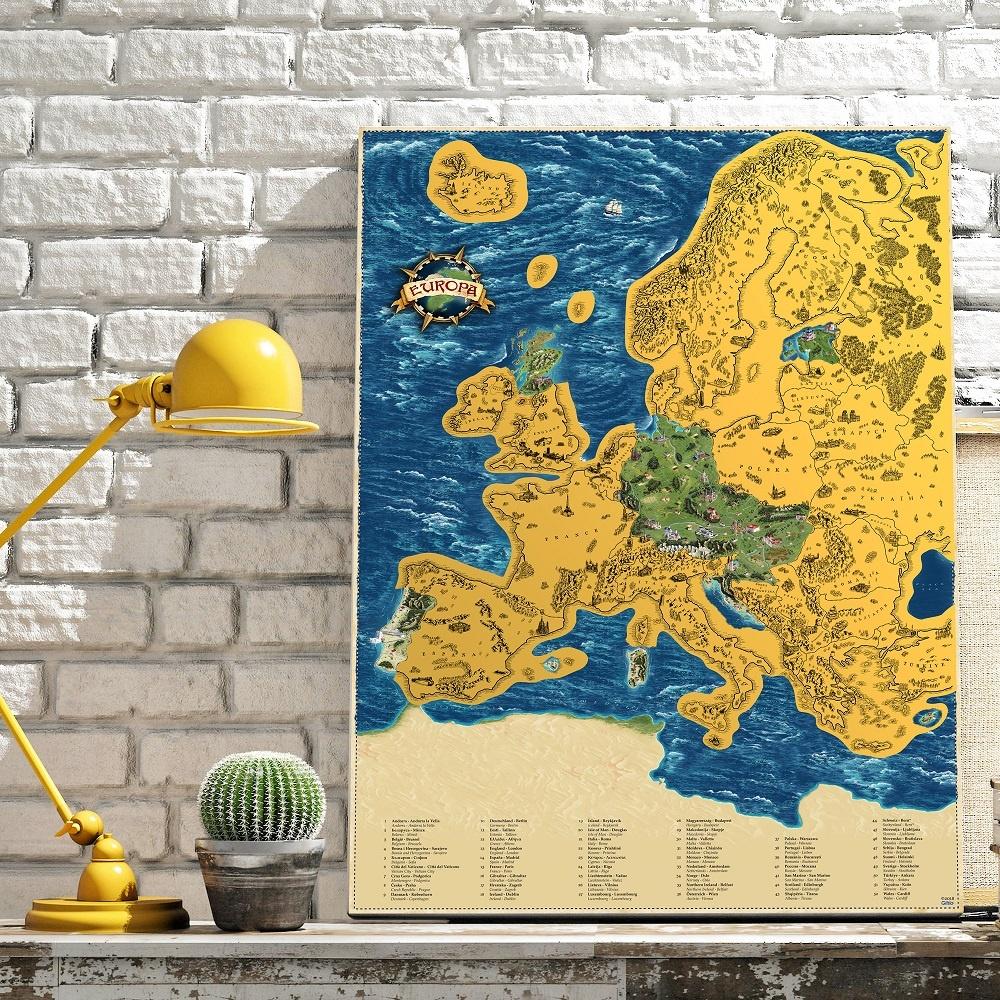 Stieracia mapa Európa Deluxe XL - zlatá