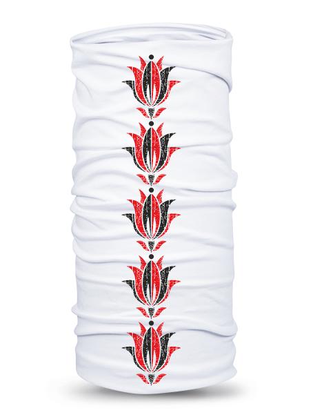 Folklórna multifunkčná šatka bledula retro Biela