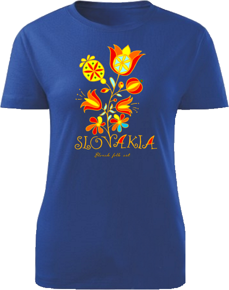 Tričko Slovakia kvet Dámske klasik Kráľovské modré