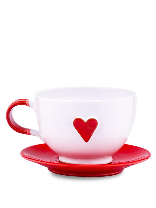 Šálka s tanierikom biela srdce červené