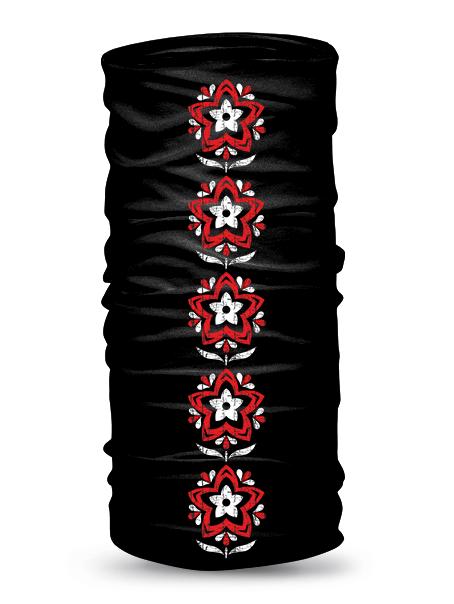 Folklórna multifunkčná šatka narcis retro Čierna