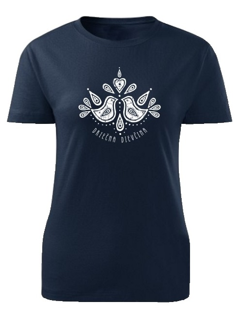 Tričko driečna dievčina folk Dámske klasik Námornícke modré