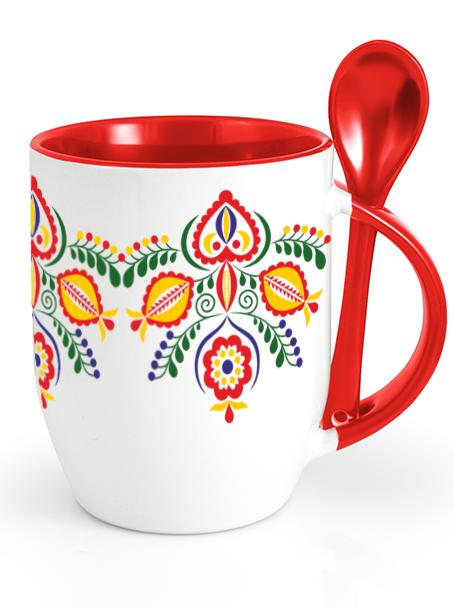 Ľudový pohár kvety 1 Červený