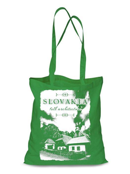 Plátená EKOlogická taška chalúpky - dlhá rúčka Zelená