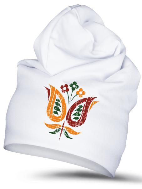 Folklórna čiapka fialka 1 retro Biela
