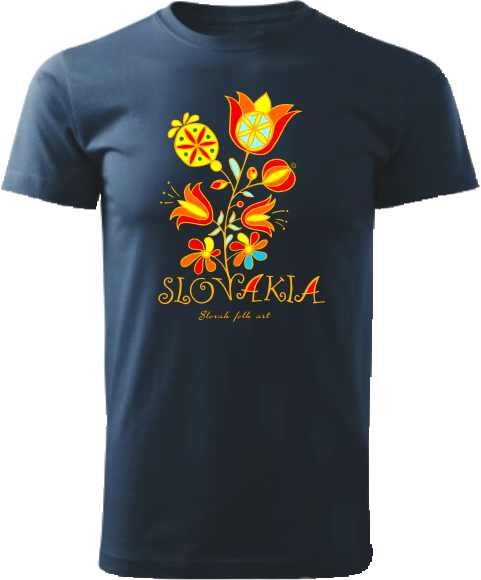 Tričko Slovakia kvet Unisex Námornícke modré