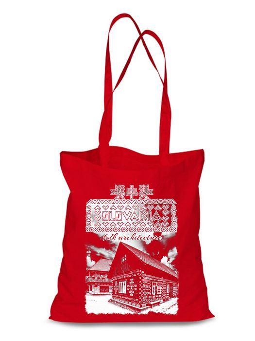 Plátená EKOlogická taška Čičmany chalúpka - dlhá rúčka Červená