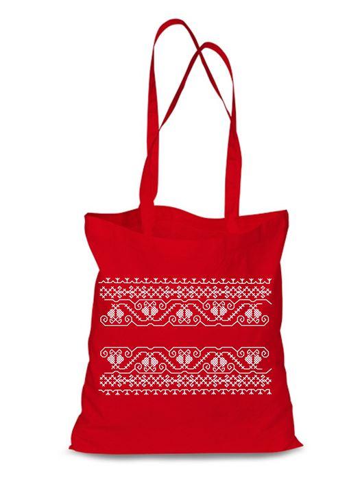 Plátená EKOlogická taška výšivka 07 - dlhá rúčka Červená