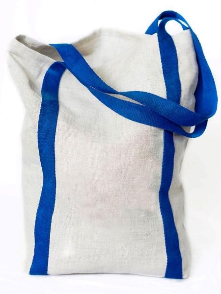 Nákupná ľanová taška - modrá