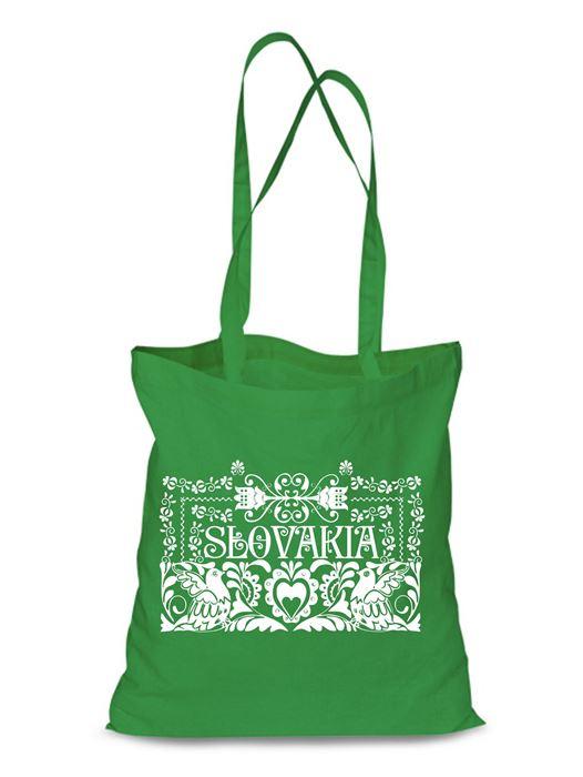 Plátená EKOlogická taška ľudový ornament - dlhá rúčka Zelená