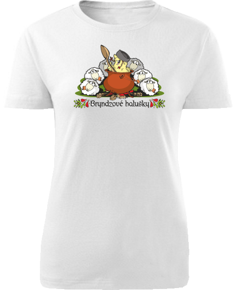 Tričko bryndzové halušky Dámske klasik Biele