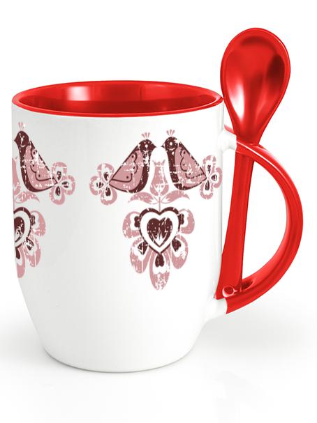 Ľudový pohár vtáčiky 1 retro Červený