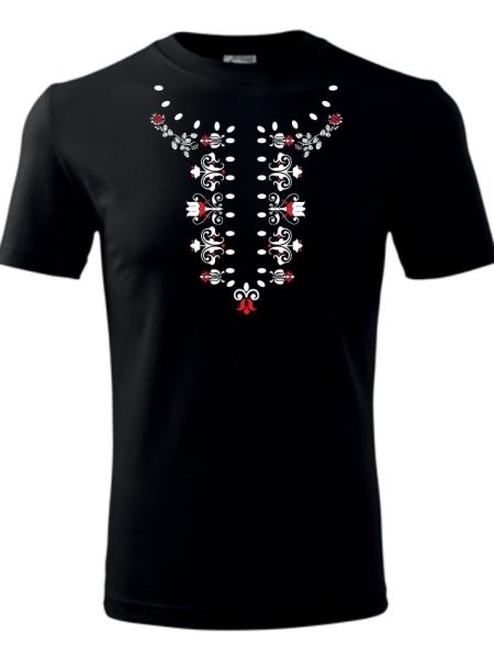 Tričko ľudová košieľka Unisex Čierne