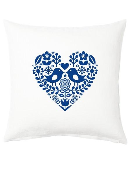 Vankúš folklórne srdce modré 40x40 cm