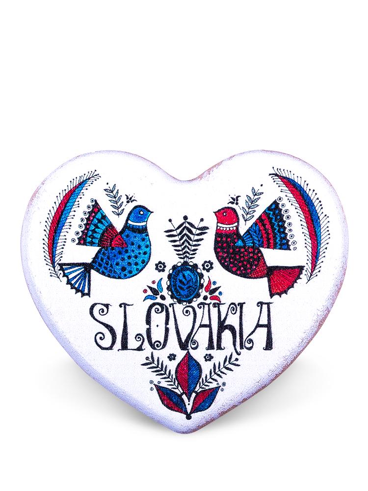 Drevená magnetka srdce biele - holubice