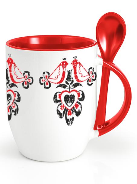 Ľudový pohár vtáčiky retro Červený