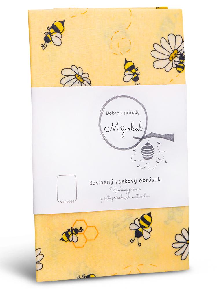 Voskovaný obrúsok bavlna včielka žltý L 35x35cm