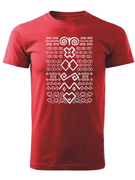 Tričko Čičmany znaky retro Unisex Červené