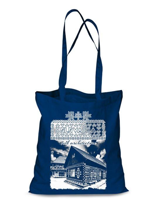 Plátená EKOlogická taška Čičmany chalúpka - dlhá rúčka Modrá