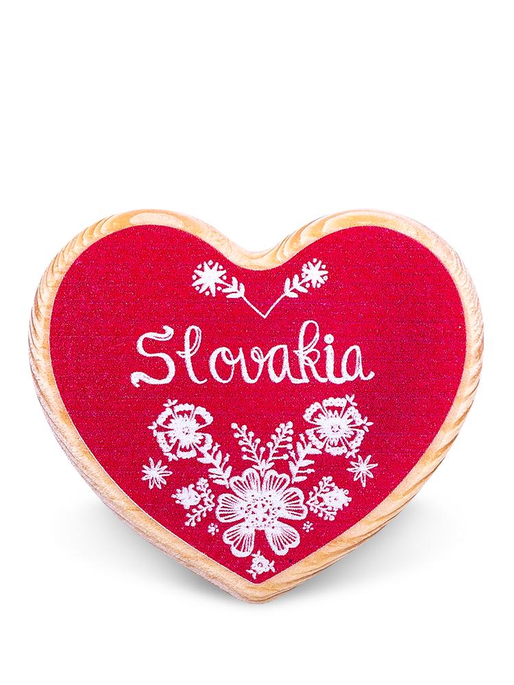 Drevená magnetka Slovakia kvety červená