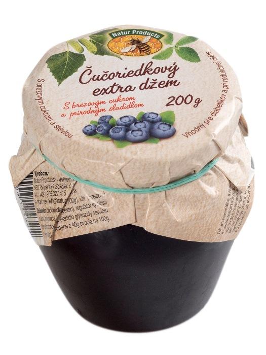 Natur products čučoriedkový extra džem stévia + brezový cukor 200G
