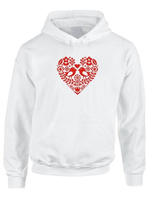 Mikina folklórne srdce červené Unisex Biela