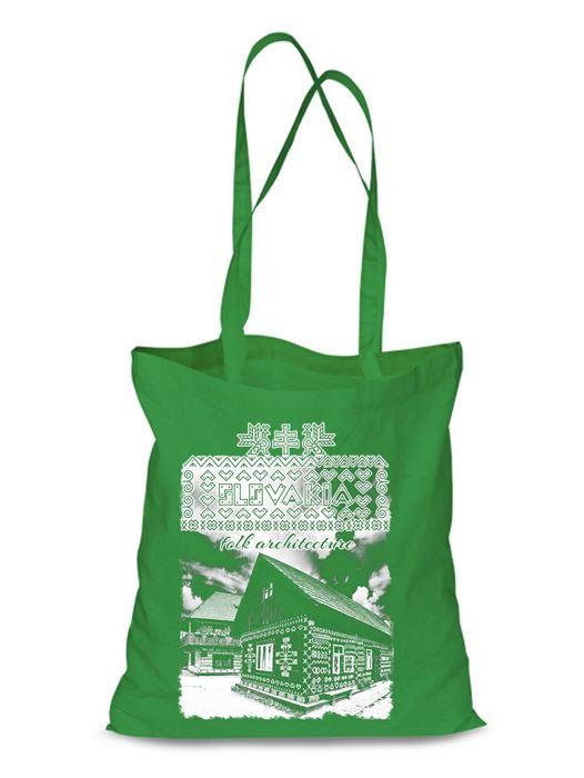 Plátená EKOlogická taška Čičmany chalúpka - dlhá rúčka Zelená