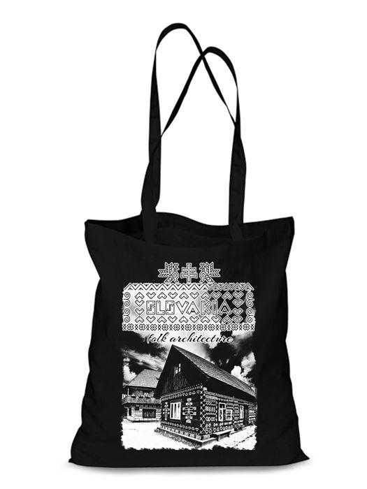 Plátená EKOlogická taška Čičmany chalúpka - dlhá rúčka Čierna