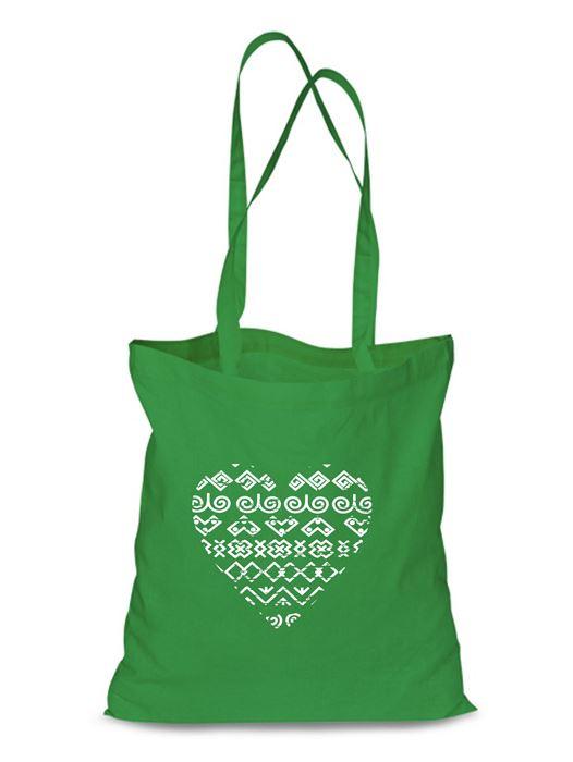 Plátená EKOlogická taška čičmanské srdce - dlhá rúčka Zelená