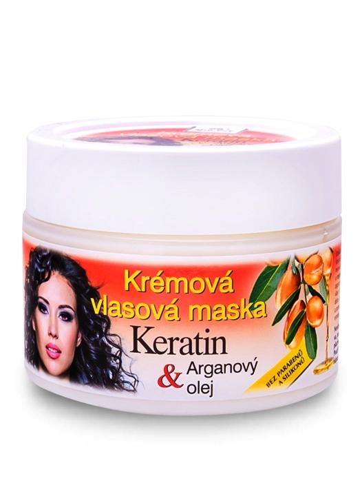 Bione Cosmetics - Vlasová maska krémová Keratin + Arganový olej 260ml