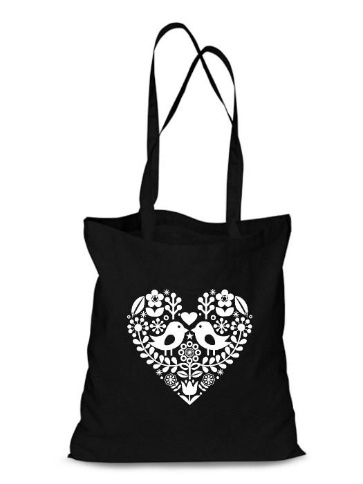 Plátená EKOlogická taška folklórne srdce - dlhá rúčka Čierna