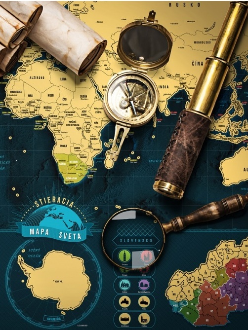 Stieracia mapa Svet Deluxe XL - zlatá