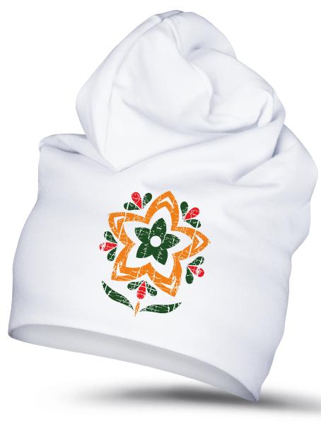 Folklórna čiapka narcis 1 retro Biela