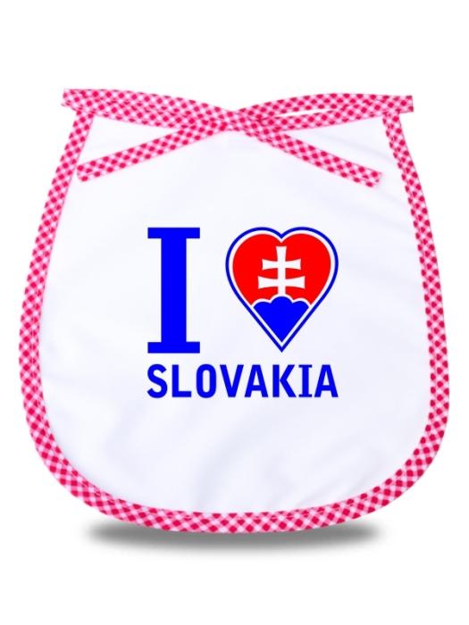Detský podbradník I love Slovakia Červený